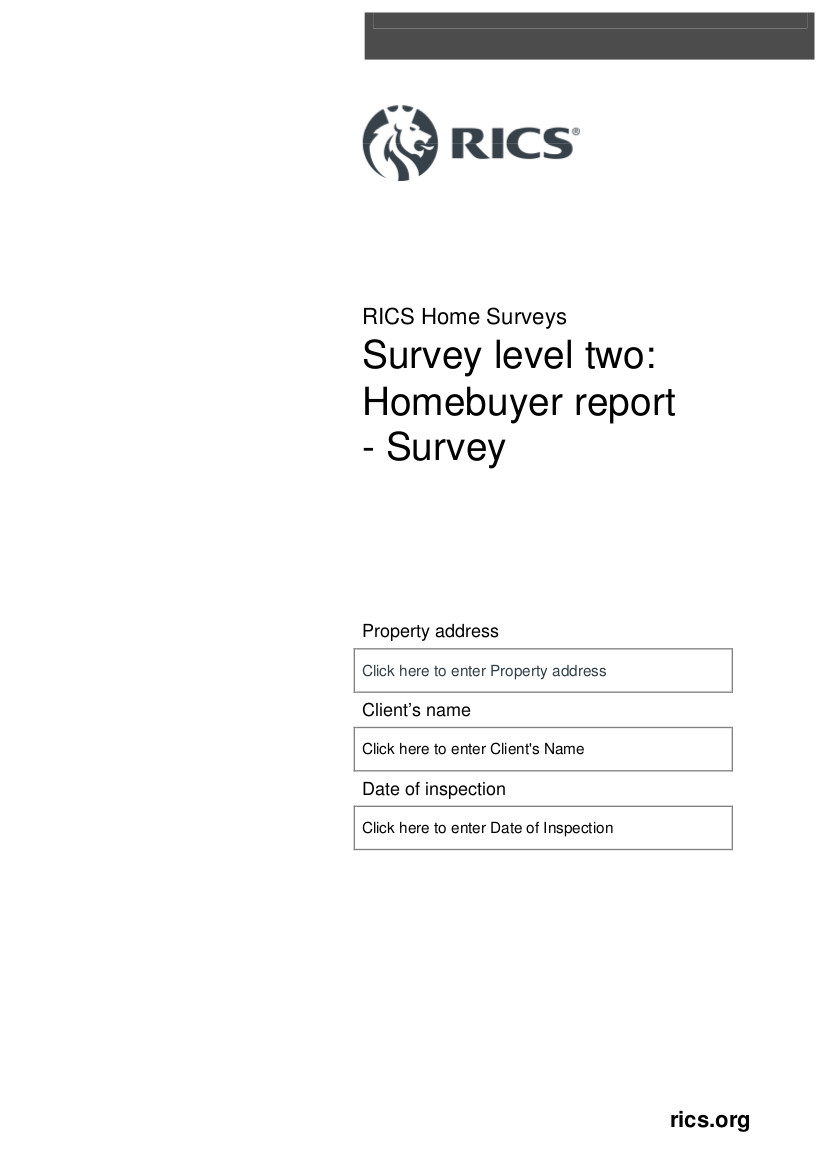rics homebuyer templates homebuyer report survey front page
